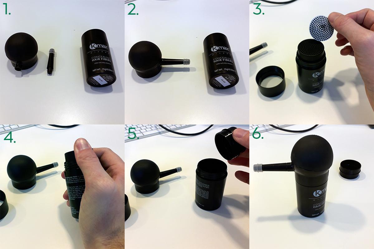 Instructies voor gebruik haarvezel applicator